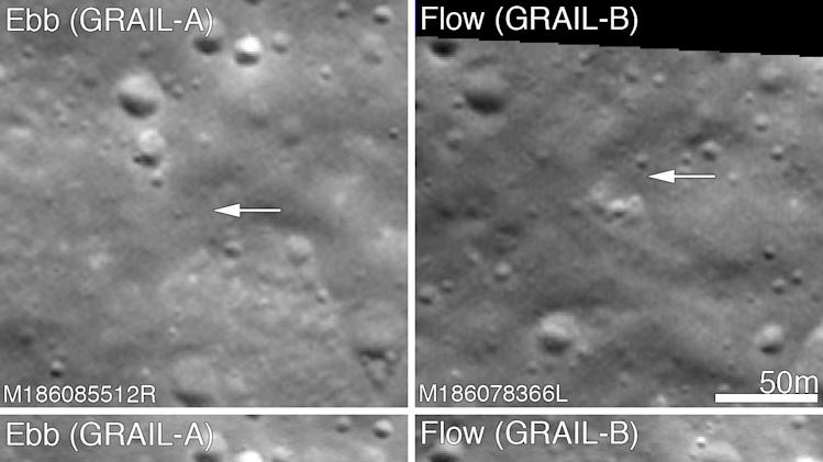 This composite image released NASA taken by NASA's Lunar Reconnaissance Orbiter shows a region of the moon before and after the twin Grail spacecraft deliberately crashed into in December 2012. The spacecraft called Ebb and Flow mapped the lunar gravity in greater detail than previous missions. (AP Photo/NASA)
