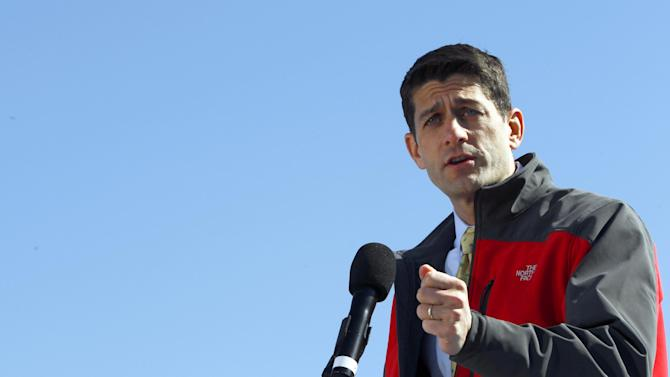 Republican vice presidential candidate, Rep. Paul Ryan, R-Wis. gestures while speaking during a campaign event, Monday, Oct. 29, 2012 in Fernandina Beach, Fla.  (AP Photo/Mary Altaffer)