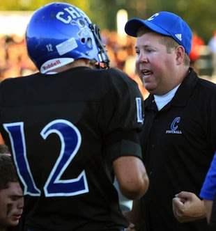 Charlestown coach Jason Hawkins, who castigated his team after a 53-point win — C.E. Branham/News & Tribune
