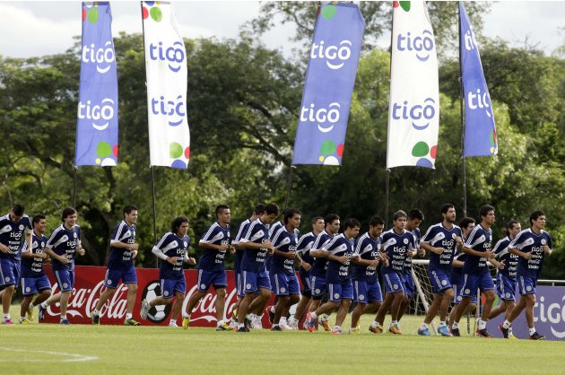 Paraguay's national soccer team players attend a training session in Ypane