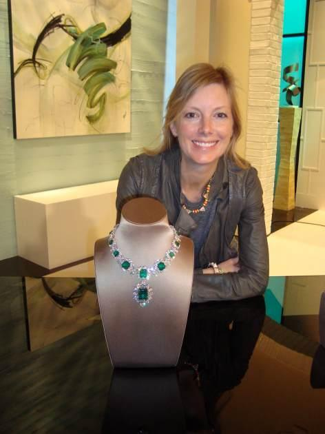 Access Hollywood Glam Slam editor Ryan Patterson with Elizabeth Taylor's emerald necklace -- Access Hollywood