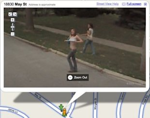 A girl in Illinois flashes the camera-bearing Google van