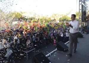 Demirtas, co-chairman of the pro-Kurdish Peoples' Democracy Party and presidential candidate, speaks during an election rally in Diyarbakir