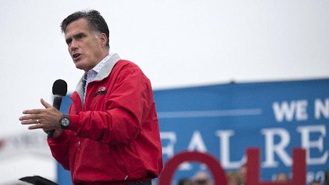 FILE - In this Sept. 25, 2012 file photo, Republican presidential candidate, former Massachusetts Gov. Mitt Romney speaks in Vandalia, Ohio. So much for Mitt Romney's plan to compete for Democratic-leaning Michigan or Pennsylvania. And what about President Barack Obama's early hopes of fighting it out for GOP-tilting Arizona, Georgia or Texas? Forget them. The presidential battleground map is as compact as it's been in decades, with just nine states seeing the bulk of candidate visits, TV ads and get-out-the-vote efforts. A small fraction of Americans will determine the outcome of the race for 270 Electoral votes. (AP Photo/ Evan Vucci, File)