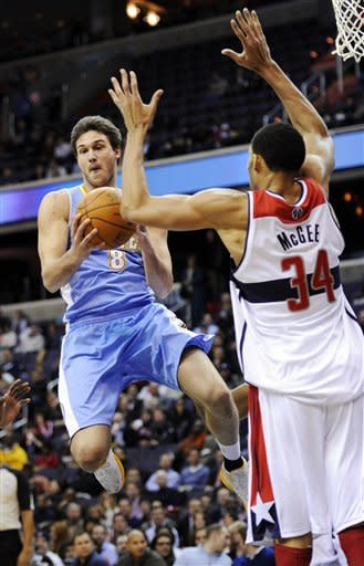 Harrington leads Nuggets over Wizards 108-104