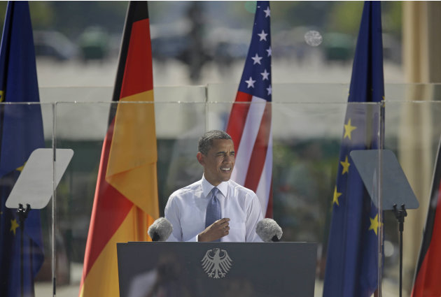 President Barack Obama speaks in front of the iconic Brandenburg Gate in Berlin Germany, Wednesday, June 19, 2013. Obama is planning a major push using executive powers to tackle the pollution blamed