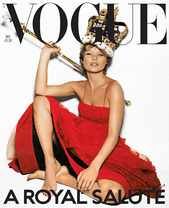Vogue: 'Royal Salute', 2001. British supermodel Kate  Moss was chosen for the December issue to celebrate the following year's Golden Jubilee wearing a Giorgio Armani tulle dress, a replic