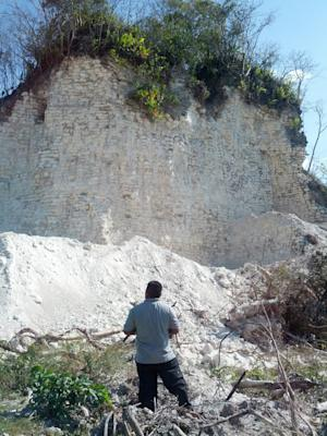 In this image released by Jaime Awe, head of the Belize Institute of Archaeology on Monday May 13, 2013, a looks at the damaged sloping sides of the Nohmul complex, one of Belize's largest Mayan pyramids on May 10, 2013 in northern Belize. A construction company has essentially destroyed one of Belize's largest Mayan pyramids with backhoes and bulldozers to extract crushed rock for a road-building project, authorities announced on Monday. (AP Photo/Jaime Awe)