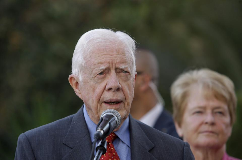Former US President Jimmy Carter speaks to the media following a meeting with Palestinian President Mahmoud Abbas in the West Bank city of Ramallah, Monday, Oct. 22, 2012. The Elders are visiting the region and holding meetings with Israeli and Palestinian leaders. (AP Photo/Nasser Shiyoukhi)