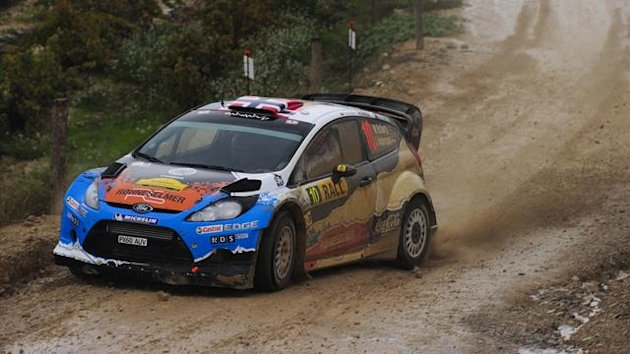 Mads Ostberg and Sweden's co-driver Jonas Andersson compete in their Adapta WRT during the first stage of the 48th Rally of Catalonia in Vilalba dels Arcs, near Tarragona, on November 9, 2012 (AFP)