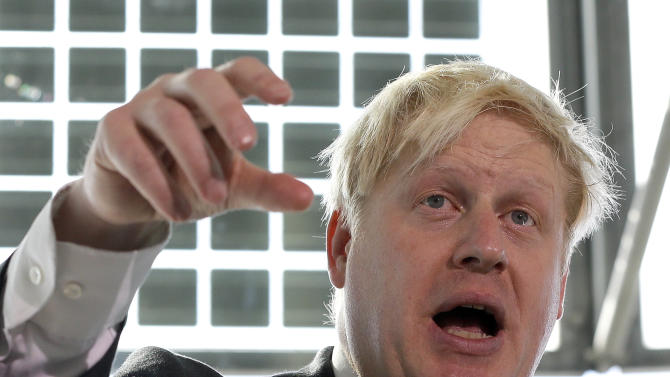 Boris Johnson, the Mayor of London, speaks at a press conference about the future of Britain's aviation, in London Thursday, Oct. 4, 2012. The Mayor urged the British government to speed up aviation expansion or risk economic stagnation. (AP Photo/Kirsty Wigglesworth)