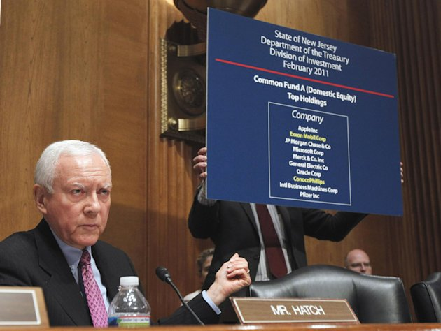 FILE - In this May 12, 2011, file photo Sen. Orrin Hatch, R-Utah, the ranking Republican on the Senate Finance Committee, speaks at the committee's hearing with oil company executives on Capitol Hill