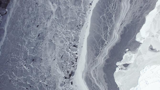 NASA image of heavily compacted first-year sea ice along the edge of the Amundsen Sea in Antarctica