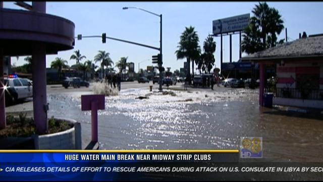 Huge water main break near Midway strip clubs