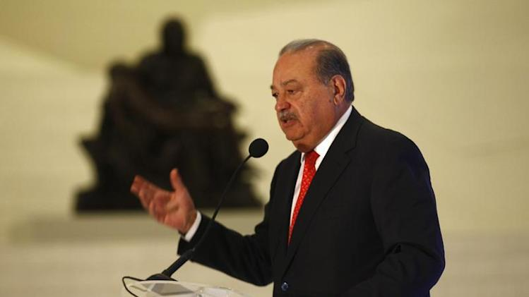 Mexican billionaire Carlos Slim speaks during the presentation of a digital platform to create educational and employment opportunities inside Soumaya museum in Mexico City