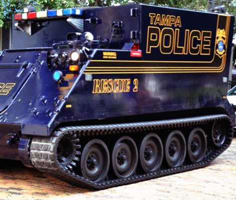Police Tank Rolled Out in Tampa: Lavender Room: Slowtwitch