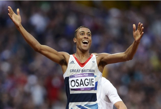 Britain's Andrew Osagie celebrates his second place finish in his men's 800m semi-final during the London 2012 Olympic Games