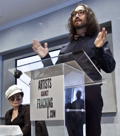 Yoko Ono, left, listens as her son Sean Lennon speaks during a news conference to launch a coalition of artists opposing hydraulic fracturing on Wednesday, Aug. 29, 2012 in New York. The formation of the group, called Artists Against Fracking, comes as New York Gov. Andrew Cuomo decides whether to allow shale gas drilling using high-volume hydraulic fracturing called hydrofracking. The group says such drilling is harmful and poses the threat of contamination. They say they want to spread awareness of the issue through &quot;peaceful democratic action.&quot; Cuomo is expected to allow drilling to begin on a limited basis near the Pennsylvania border. The group is comprised of 146 members including Lady Gaga, Paul McCartney and Alec Baldwin. (AP Photo/Bebeto Matthews)