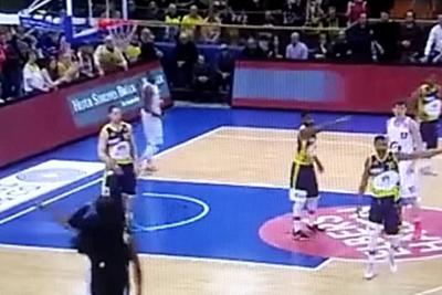 Basketball coach catches loose ball, casually drains deep 3 in a suit