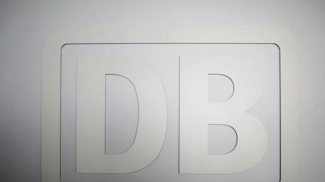 The logo of the German railway operator Deutsche Bahn is pictured during a news conference in Berlin