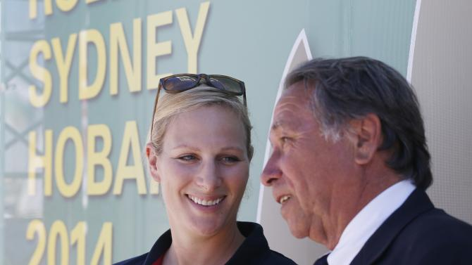 Zara Phillips chats with Commodore Cameron of Sydney's Cruising Yacht Club before the start of the Sydney to Hobart Yacht Race