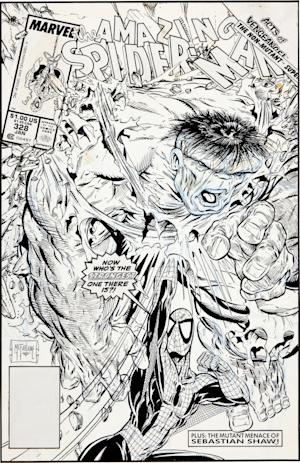 "CORRECTS AMOUNT FROM $385, 500 TO $358,500 - This image, provided by Heritage Auctions, shows original cover art for ""The Amazing Spider-Man"" No. 328 by artist Todd  McFarlane. The cover has sold for a record $657,250 at auction, just one among several pieces from the 1990s that went for hundreds of thousands of dollars. McFarlane drew several titles for Marvel Comics in the 1990s and then left to develop his own character, ""Spawn,"" and form Image Comics with other artists and writers. The cover was among several sold by Heritage Auctions, and also included McFarlane's cover for ""Spider-Man"" No. 1, which was bought for $358,500. (AP Photo/Heritage Auctions)"