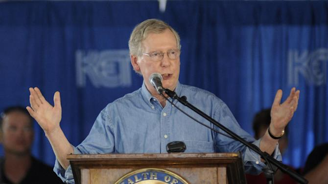 Senate Minority Leader Mitch McConnell of Kentucky speaks during the 133rd Annual Fancy Farm Picnic in Fancy Farm, Ky., on Aug. 3, 2013. The annual picnic at Fancy Farm always serves up a main dish of politics along with a side of delicious barbecue. And in 2014, voters will get a rare glimpse of Kentucky's U.S. Senate candidates standing side by side as they face armies of hecklers trying to deflect them from their talking points. McConnell and his Democratic challenger, Alison Lundergan Grimes, will share the same stage for only the second time. (Stephen Lance Dennee/AP Photo, File)