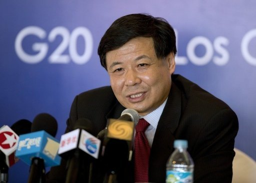 China's Vice Finance Minister Zhu Guangyao at a press conference in Los Cabos