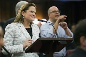 New York City councilwoman Melissa Mark-Viverito smiles as she speaks after being elected speaker of the city council inside of City Hall in the Manhattan borough of New York