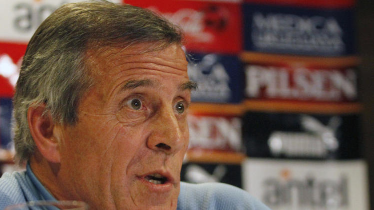 Uruguay's coach Oscar Tabarez talks to reporters in Buenos Aires, Argentina, Friday, July 22, 2011. Uruguay will play Paraguay on Sunday in the final match of the Copa America.  (AP Photo/Eduardo Di Baia)