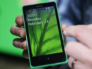 The Nokia X is shown at its unveiling at the Mobile World Congress in Barcelona