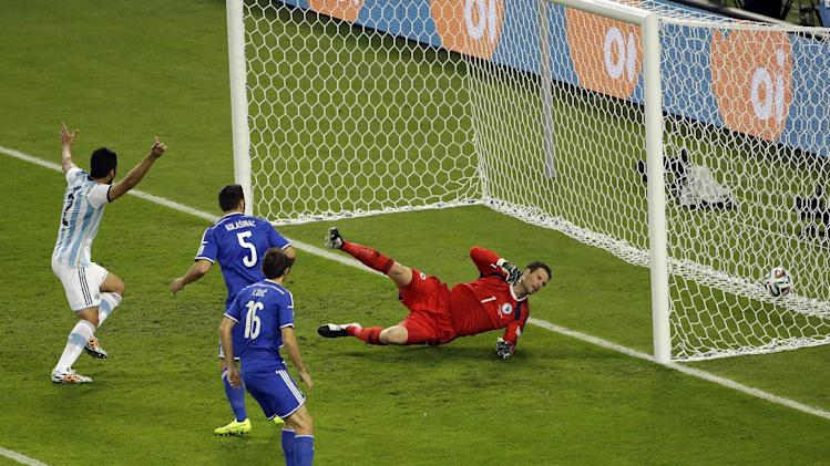 Argentina leads 1-0 on Bosnian own goal