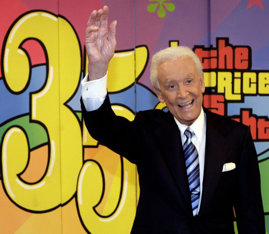 FILE - In this June 6, 2007 file photo shows game show host Bob Barker gesturing during the taping of his final episode of &quot;The Price Is Right&quot; in Los Angeles. The 40th anniversary special of the popular daytime game show aired Tuesday, Sept. 4, 2012 on CBS. (AP Photo/Damian Dovarganes, file)
