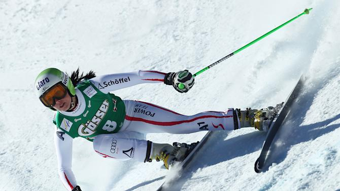 Austria's Anna Fenninger competes on her way to take the third place of an alpine ski, women's World Cup downhill in St. Anton, Austria, Saturday, Jan.12, 2013. (AP Photo/Marco Trovati)