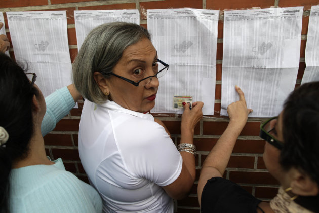 Residents look for their names on voter lists at a polling station during the presidential election in Caracas, Venezuela, Sunday, Oct. 7, 2012.  President Hugo Chavez is running for re-election again