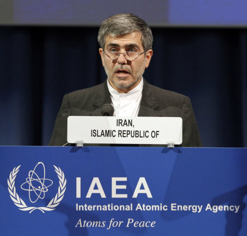 Fereidoun Abbasi Davani, Iran&#39;s Vice President and Head of Atomic Energy Organization delivers a speech at the general conference of the International Atomic Energy Agency, IAEA, at the International Center, in Vienna, Austria, Monday, Sept. 17, 2012. (AP Photo/Ronald Zak)