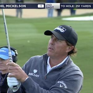 Phil Mickelson is on in two on the par-5 13th hole at Waste Management