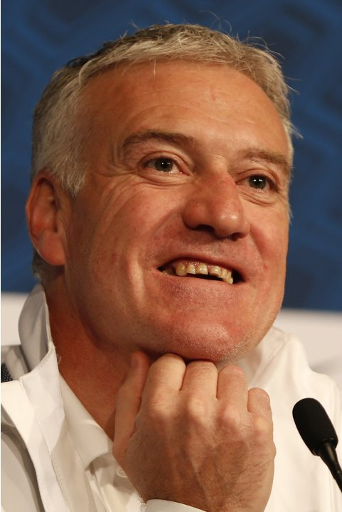 France's national team coach Didier Deschamps attends a news conference at the Stade de France stadium in Saint-Denis