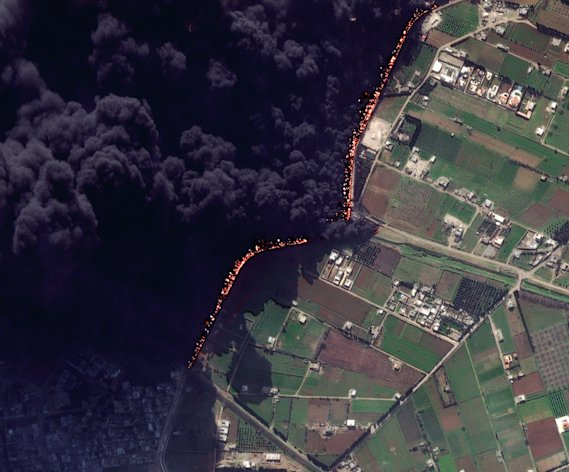This Wednesday Feb. 15, 2012 satellite image shows a pipeline fire in Homs, Syria. The pipeline, which runs through the rebel-held neighborhood of Baba Amr, in Homs, had been shelled by regime troops for the previous 12 days, according to two activist groups, the Local Coordination Committees and the Britain-based Syrian Observatory for Human Rights. The state news agency, SANA, blamed &quot;armed terrorists&quot; for the pipeline attack last week. It said the pipeline feeds the tankers in the Damascus suburb of Adra, which contribute in supplying gasoline to the capital and southern regions. (AP Photo/DigitalGlobe) MANDATORY CREDIT