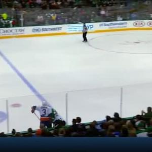 Jordie Benn Hit on Travis Hamonic (11:15/1st)