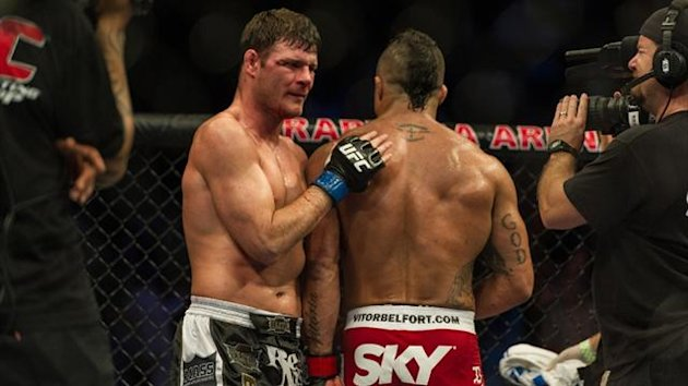 Michael Bisping and Vitor Belfort after their UFC fight at Ibirapuera gymnasium in Sao Paulo (AFP)