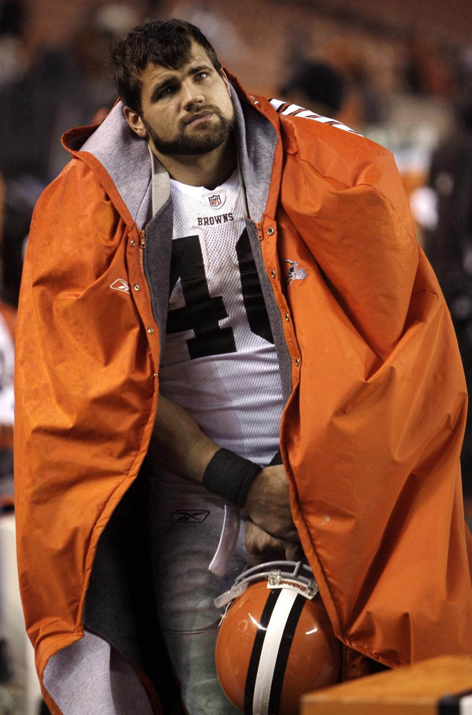 Cleveland Browns running back Peyton Hillis watches during the final minutes of the Browns' 24-10 loss to the Baltimore Ravens in an NFL football game on Sunday, Dec. 4, 2011, in Cleveland. (AP Photo/Tony Dejak)