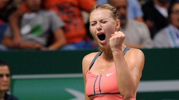 Maria Sharapova of Russia reacts during her match with Victoria Azarenka of Belarus at the WTA Championships tennis tournament in Istanbul (AFP)