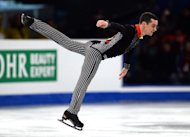 Spain's Javier Fernandez performs in the men's short programme competition during the ISU European Figure Skating Championships, at 'SYMA' sports hall in Budapest, on January 16, 2014