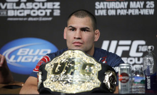 Cain Velasquez speaks to media following UFC 160. (USA Today)