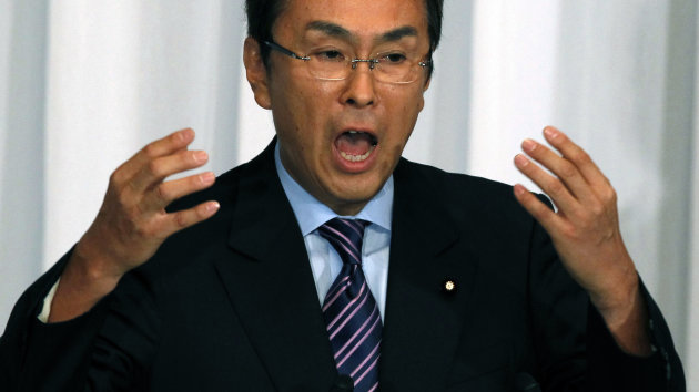 FILE - In this Sept. 14, 2012 file photo, Japan's opposition Liberal Democratic Party presidential candidate Nobuteru Ishihara delivers his policy speech during an official announcement for the race at the party headquarters in Tokyo. The conservative Liberal Democratic Party chooses a leader Sept. 26. The winner may become prime minister if the LDP wins elections that the prime minister has said he will call soon. (AP Photo/Junji Kurokawa, File)