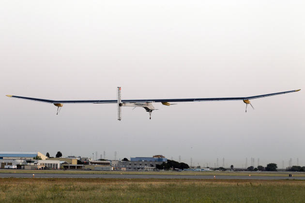 The Solar Impulse plane takes off on a multi-city trip across the United States from Moffett Field NASA Ames Research Center in Mountain View, Calif., Friday, May 3, 2013. Solar Impulse, considered th