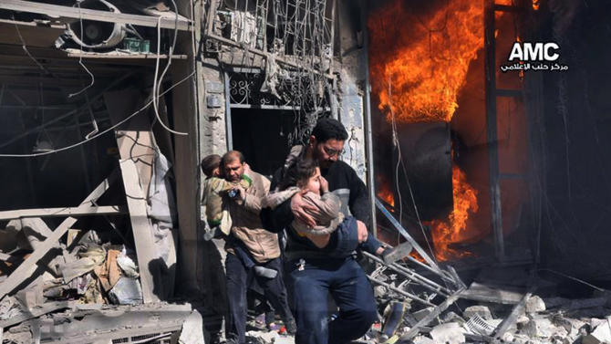In this photo provided by the anti-government activist group Aleppo Media Center (AMC), which has been authenticated based on its contents and other AP reporting, Syrian men help survivors out of a destroyed building after a Syrian forces warplane's attack in Aleppo, Syria, Saturday, Feb. 8, 2014. Syrian military aircraft dropped barrels bombs on rebel-held areas in the northern city of Aleppo on Saturday. (AP Photo/Aleppo Media Center AMC)