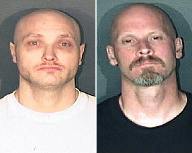 This combo made from photos released by the El Paso County, Colo., Sheriff's office shows Thomas James Guolee, 31, left, and James Franklin Lohr, 47, who are wanted for questioning in the Tom Clements