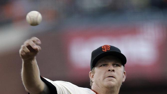 San Francisco Giants starting pitcher Matt Cain throws during the first inning of Game 7 of baseball's National League championship series against the St. Louis Cardinals Monday, Oct. 22, 2012, in San Francisco. (AP Photo/Ben Margot)
